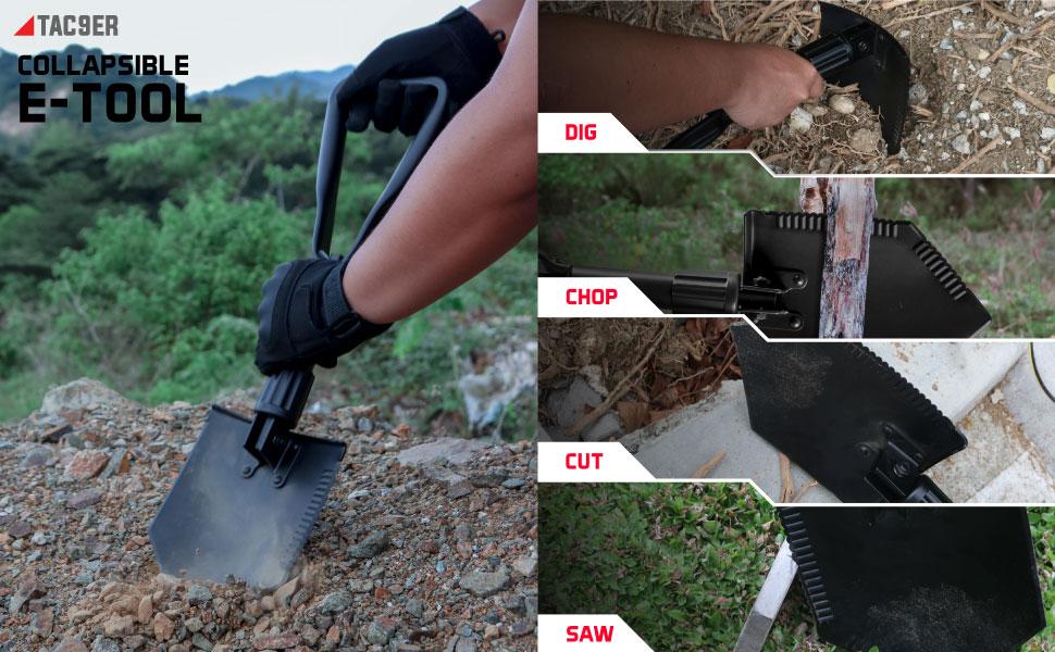 Collapsible E-Tool Shovel. Portable, Metal, Folding Entrenching Tool, Tactical Military Shovel