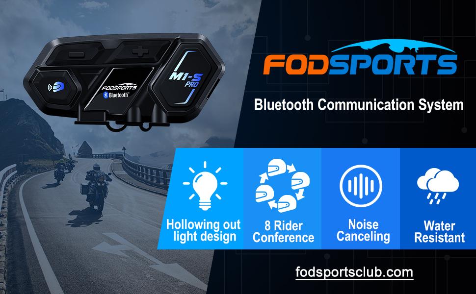capacit/é de 4 /à 6 Personnes /étanche pour la Conduite et Le Ski Ensemble avec /écran LCD Kit de Communication intercom pour Casque Bluetooth pour Casque Moto Fodsports 1200M