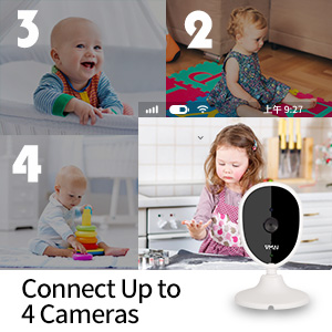 baby monitor supports up to 4 cameras home kitchen living room play room indoor use