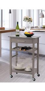 Kitchen cart grey rolling island