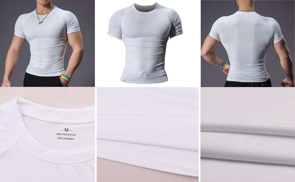 Mens Compression couche de base T-shirt Hauts Fitness Entrainement Quick Dry Muscle Tee