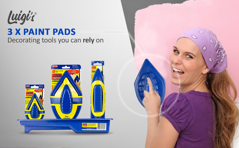 paint pad set and a girl holding 1 paint pad