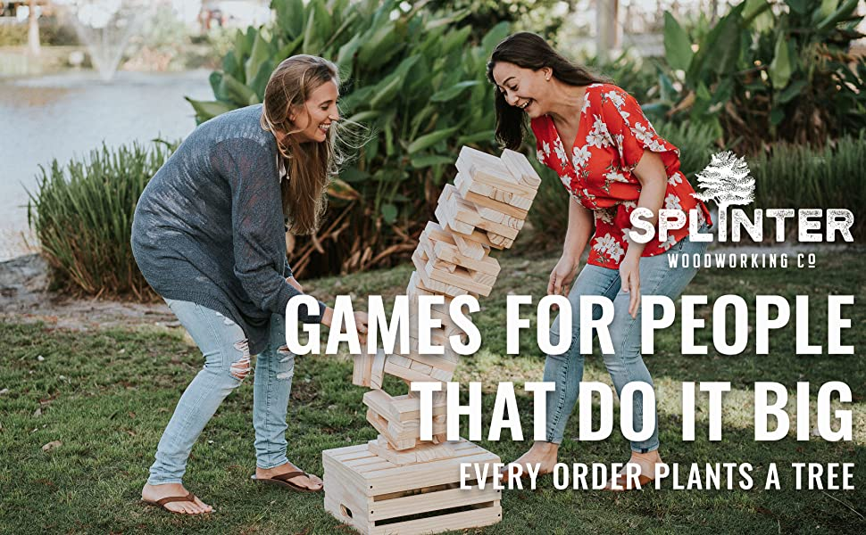 Splinter Woodworking Co. Jenga falling. Games for people that do it big. Every order plants a tree.