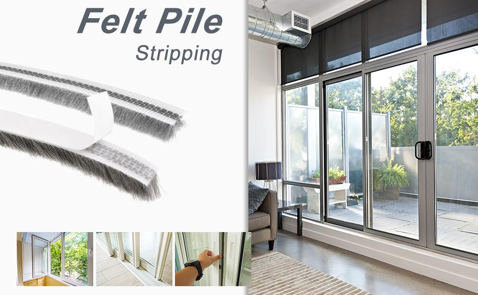 Gray Adhesive Felt Door Seal Strip Pile Weatherstrip Door Sweep Brush for Door Window 394Inch L X 0.24 Inch W uxcell Brush Weather Stripping 10000mm X6mm