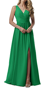 Double V-Neck Bridesmaid Dresses Long Maxi Chiffon Ladies Prom Party Gown