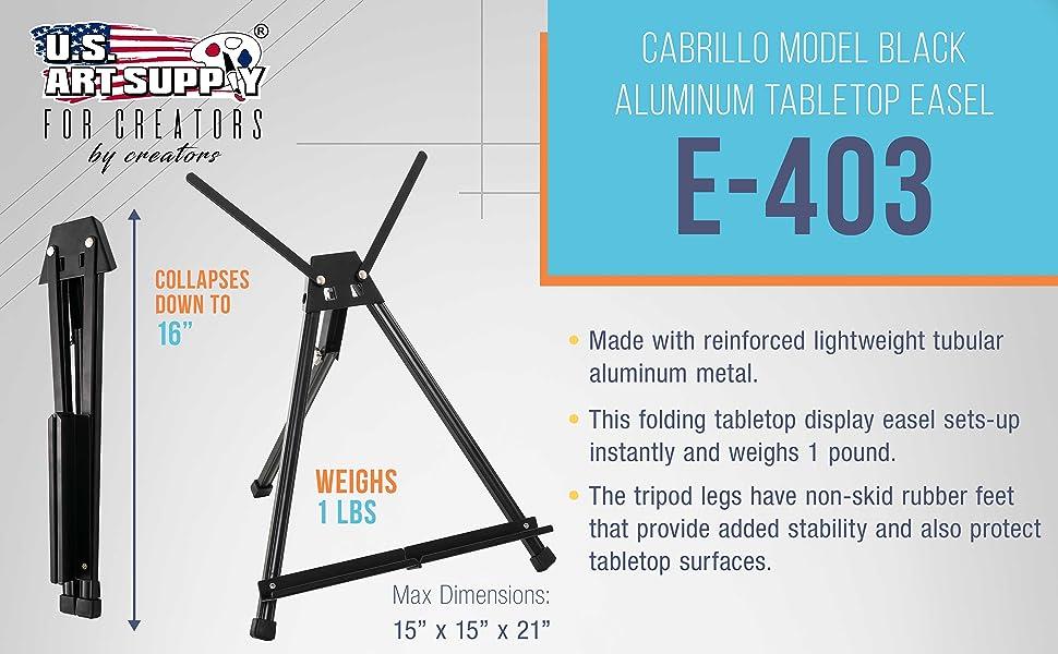 Cabrillo Model Black Aluminum Tabletop Easel