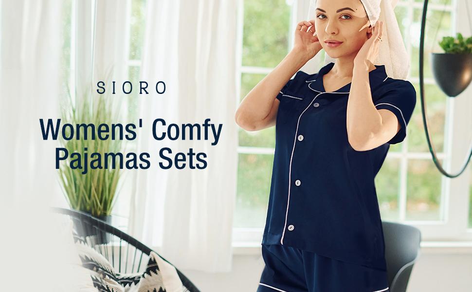 Short Pajamas for Women Modal Cotton Short Sleeve Button Down Pajama Set Sleepwear