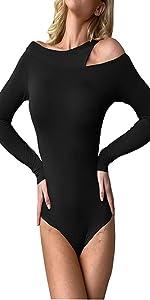 Weigou Women Sexy Jumpsuits T Shirts Basic Bandage Long Sleeve Bodysuit Tops