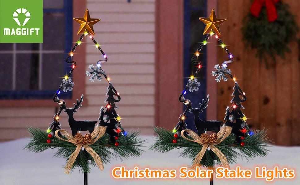 MAGGIFT Christmas Outdoor Solar Stake Lights
