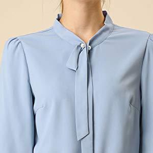 Allegra K Camisa De Oficina Formal con Mangas Largas Y Cuentas ...
