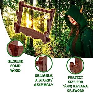 Mythrojan Genuine wood sword stand helm hat SCA LARP Reenactment collector display stands  medieval