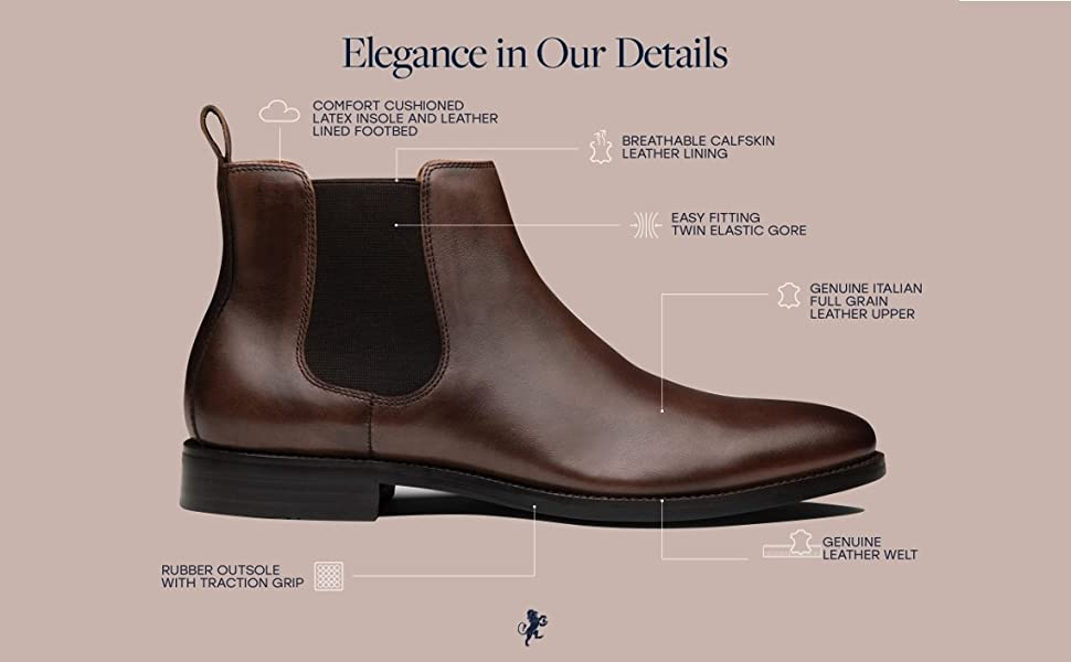 Jayden leather chelsea boot with rubber sole by Dunross & Sons footwear lifestyle brand for men