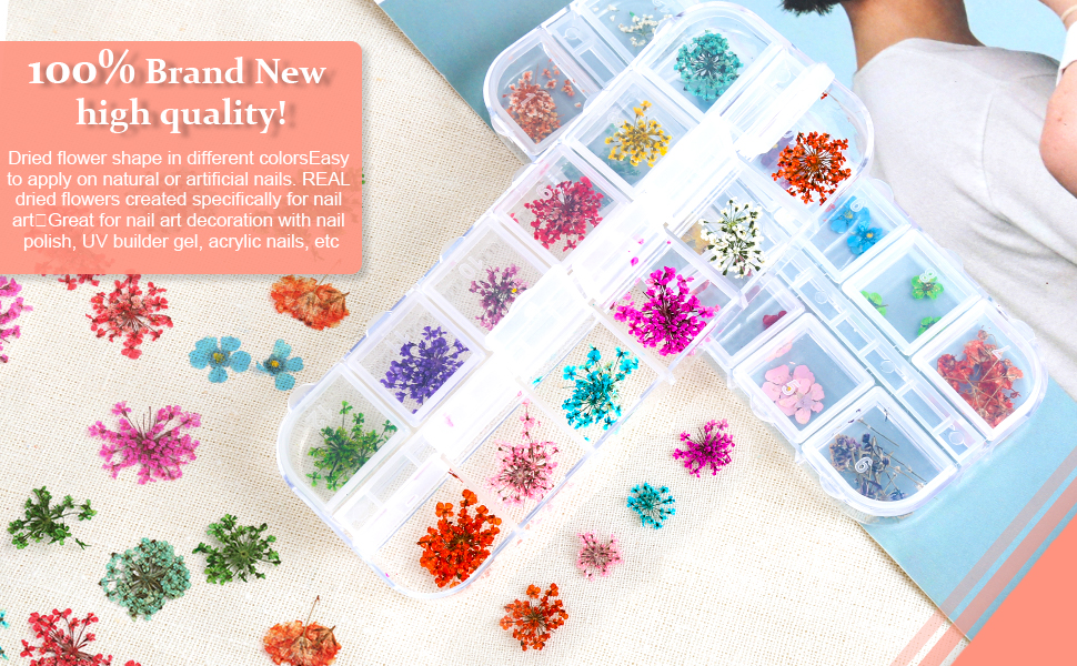 Review for Teenior 24 Colors Nail Dried Flowers 3d Nail Art Sticker for Tips Manicure Decor Mixed Accessories Starry Leaves Flower