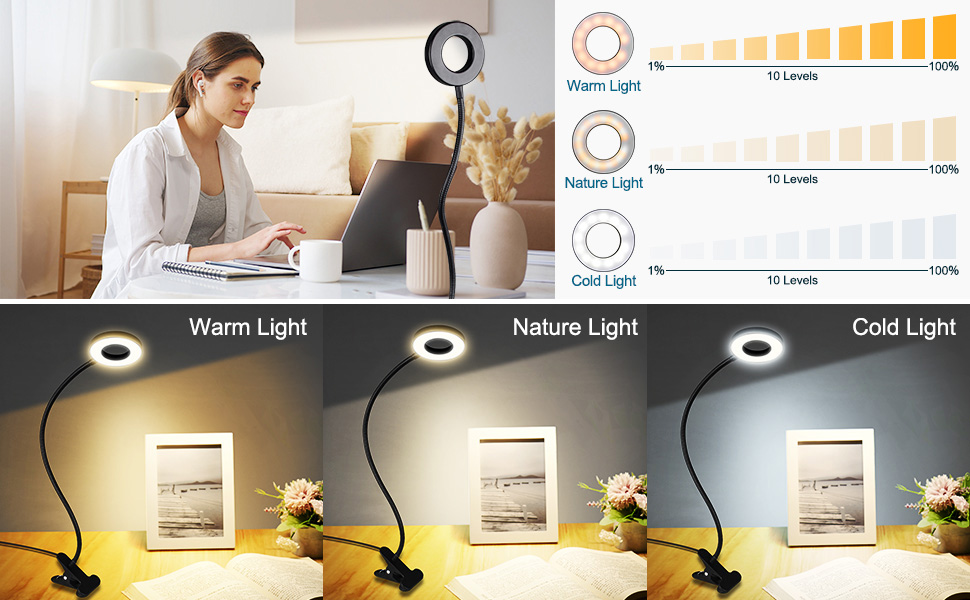 Xbuyee LED Reading Light with Clamp for Video Conference Lighting, Clip on LED Desk Light Computer