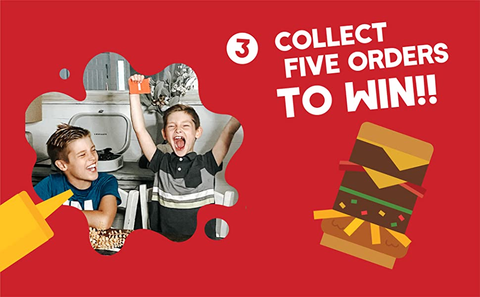 Step three: collect five orders to win the game.
