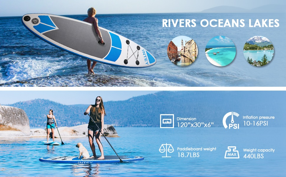 INTEY Tabla Paddle Surf Hinchable 305×76×15cm, Sup Paddle Remo Ajustable,Tabla Stand Up Paddle Board ,Bomba de Doble,Seguridad Bolsa y Kit de ...