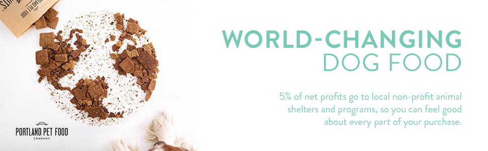 World changing dog food 5% of net profits go to local non-profit animal shelters and programs