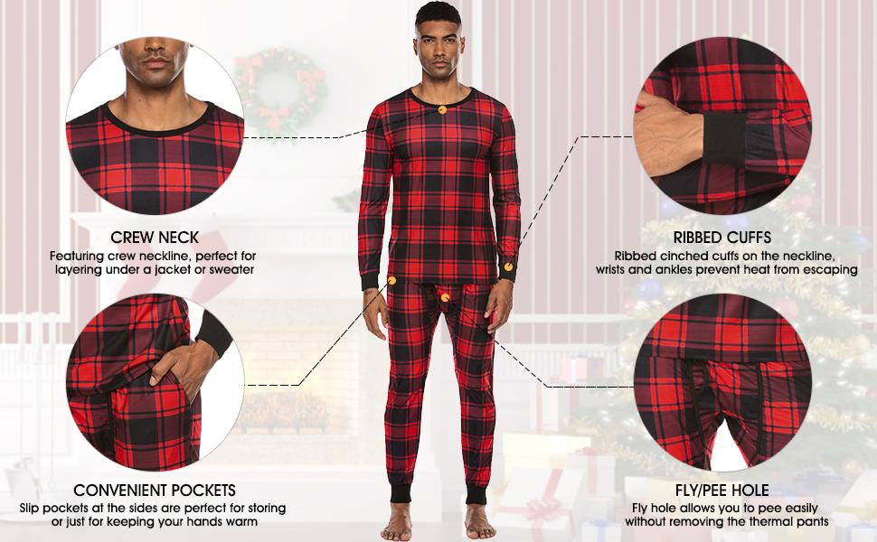 men thermal pajama set