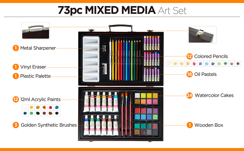 mixed media art set colored pencils oil pastels watercolor cake acrylic paint carry case