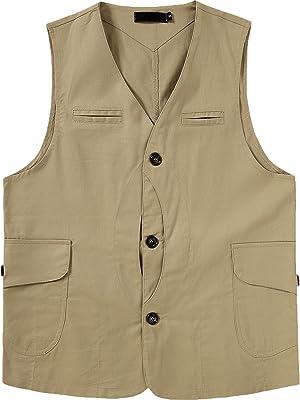 PRIJOUHE Mens Casual Cargo Vest Cotton Lightweight Outdoor Multi-Pockets Fishing Safari Travel Work Vest Jacket