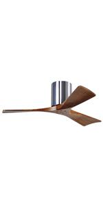 irene 3h, hugger fan, polished chrome, walnut ceiling fan