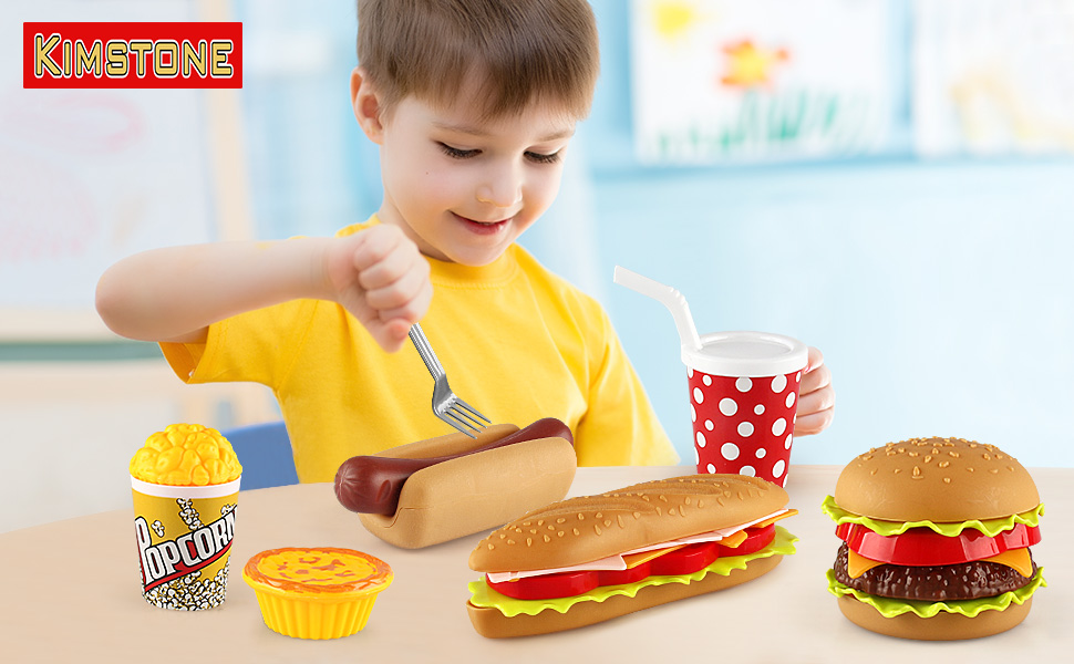 play food toy set toddler dessert hamburger fast