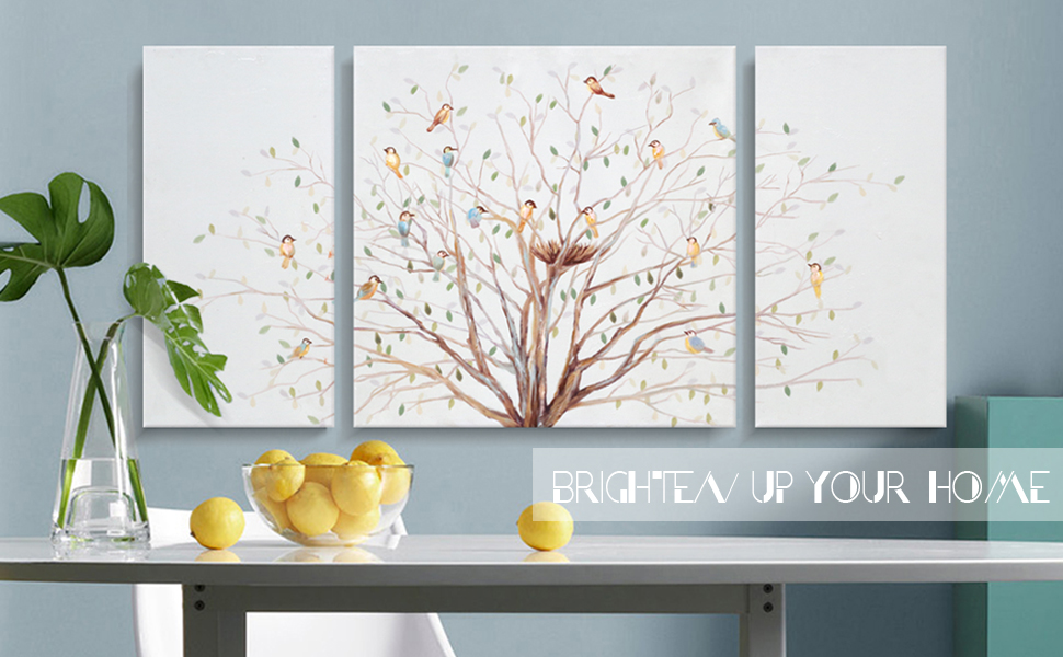 Amazon Com 3 Piece Bird Tree Wall Art Nature Painting Morning Chorus Canvas Print On Wrapped Canvas With Hand Painted Embellished Texture Large Colorful Artwork Picture For Living Room Bedroom Office Décor Posters