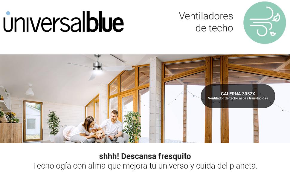UNIVERSALBLUE | Ventilador de Techo INOX con aspas translúcidas | Luz LED | Mando a Distancia | 60W | 3 Velocidades | 132 cm: Amazon.es: Hogar