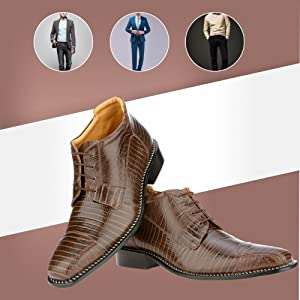 Libertyzeno Men's Genuine Leather Ankle High Top Lizard Print Lace Up Dress Shoes