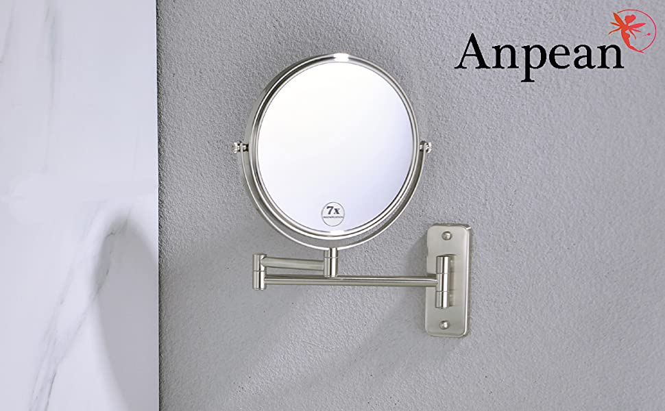 anpen wall makeup mirror 7x brushed nickel