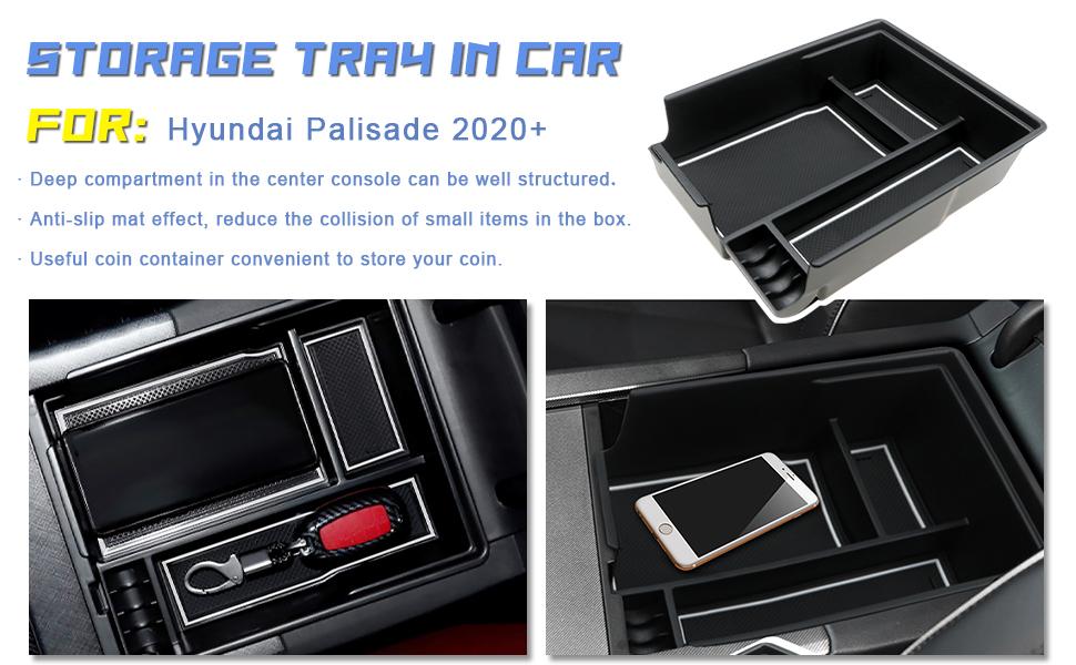 R RUIYA Customized for 2020 Palisade Car Center Console Armrest Box Glove Secondary Storage Console Organizer Insert Tray
