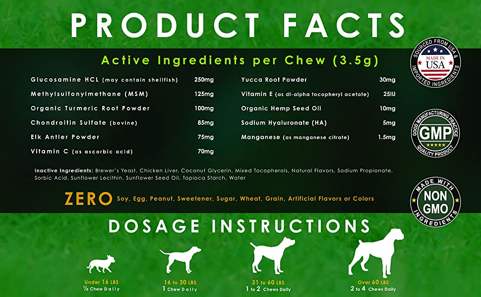 Glocusamine Chondroitin MSM Hip and Joint Supplements for Dogs