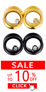 4PCS Gold/Black Hollow with Diamond Double Flared Ear Gauges Tunnels