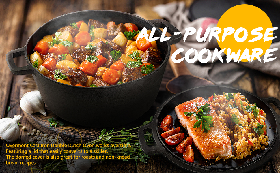All-purpose cookware, featuring a lid that easily converts to a skillet.