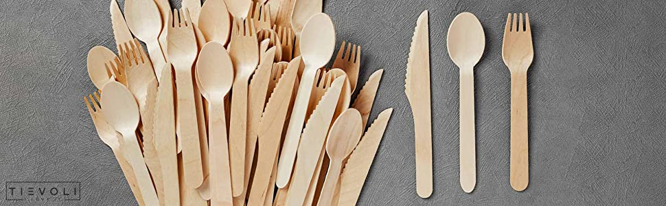 1000 x Wooden Knives Biodegradable Disposable High Quality Single Use Cutlery