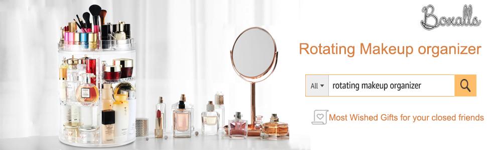 Boxalls Organiseur de maquillage rotatif /à 360 degr/és chambre /à coucher forme c Organiseur de maquillage multifonction transparent avec 5 couches de grande capacit/é id/éal pour le coiffeuse de comptoir de salle de bain