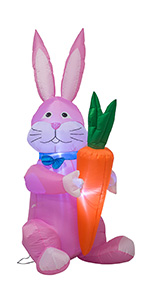 AJY 6 Feet Happy Easter Bunny Holding a Carrot Inflatable