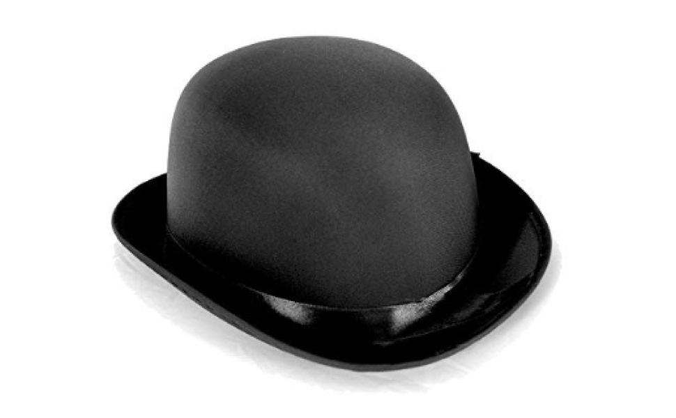 Deluxe Adult Black Bowler Hat Satin Derby Cap Masquerade Ball Costume Mens NEW