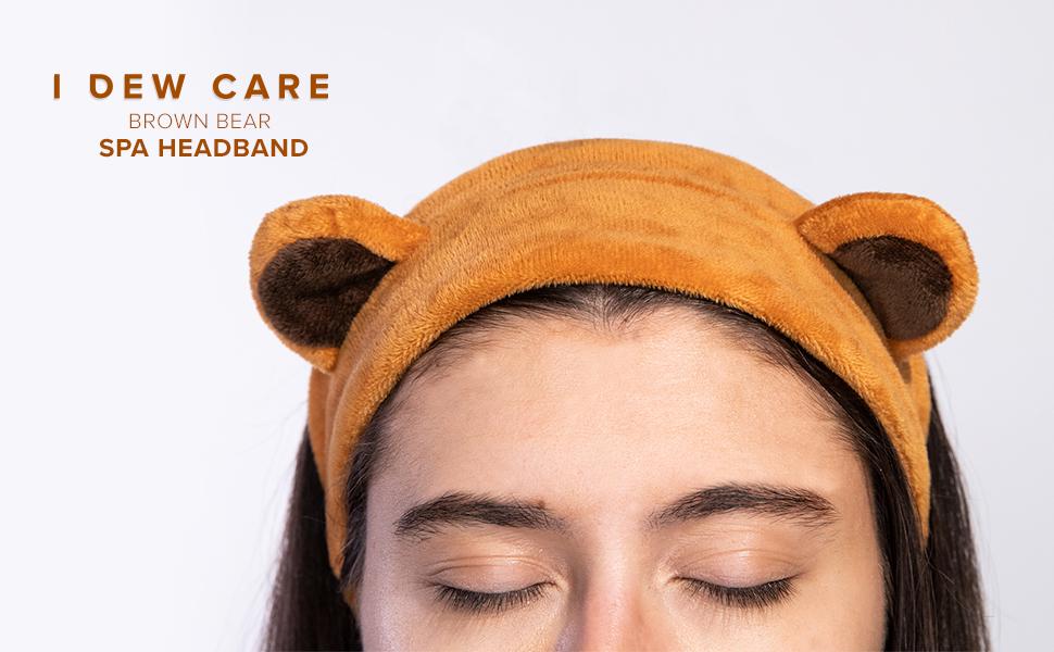 i dew care, brown bear spa headband