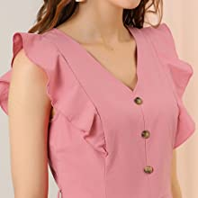 Women's V Neck Tie Waist Button Decor Casual Ruffle Sleeves Mini Romper
