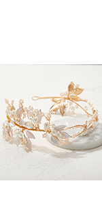 Floral-Leaf Bride Headband