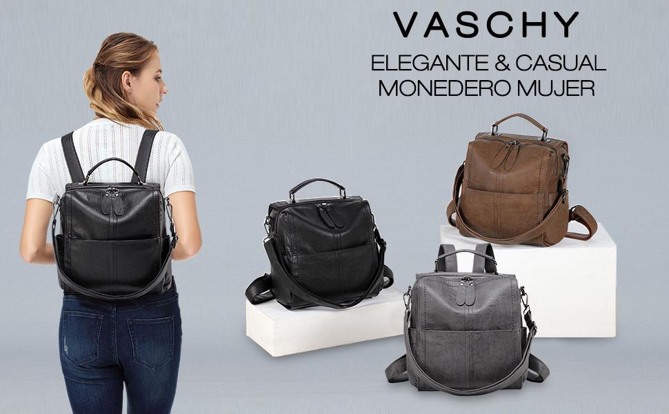 VASCHY Mochila Mujer Bolsos Mochila Vintage Bolsos Bandolera Cuero Bolsa de Hombro Chica Mochila Trabajo Escuela Gris