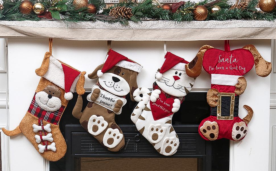 AGD Christmas Decor Puppy Dog Santa Stocking and Holder Set