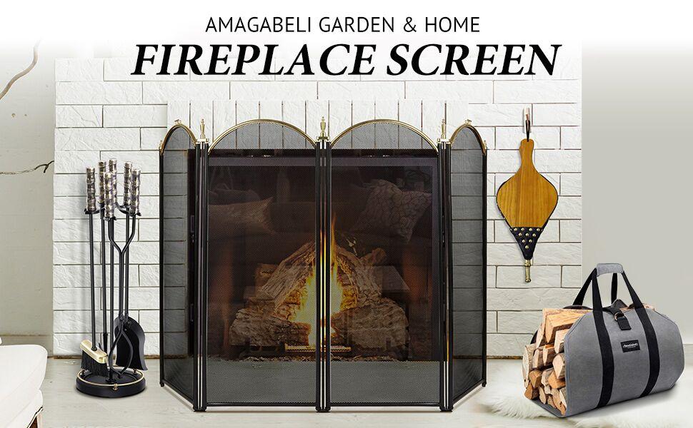 Amagabeli Large Canvas Firewood Carrier Log Bundle Large Gold Fireplace Screen 4 Panel