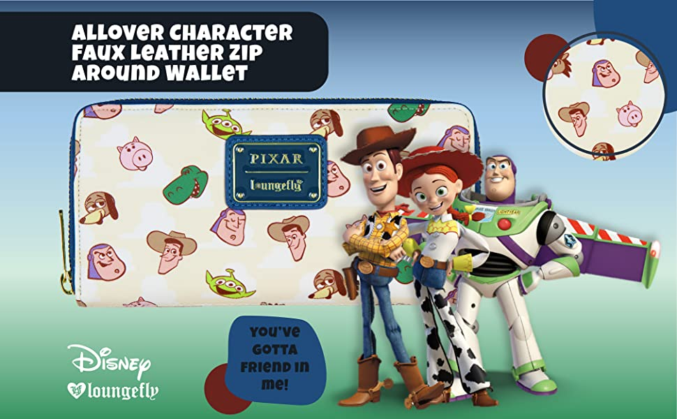 Loungefly x Disney Toy Story Allover Character Faux Leather Zip Around Wallet Christmas Holiday Gift