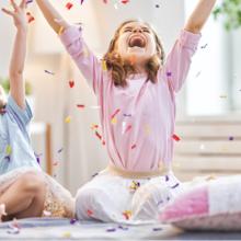 happy confetti girl