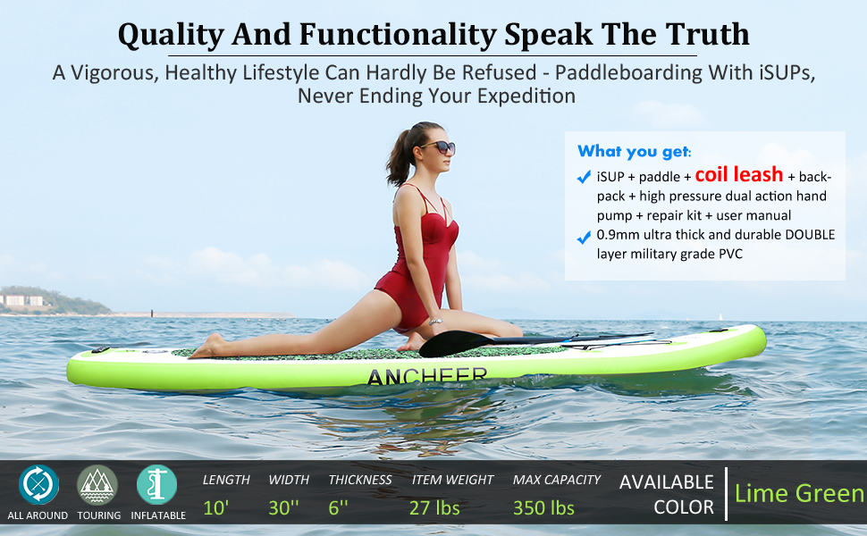 ANCHEER Inflatable Stand Up Paddle Board 10, iSUP Package w/Adjustable Paddle, Leash, Pump and Backpack