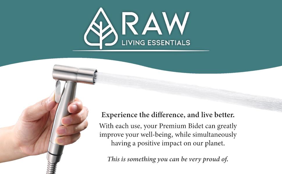 raw living essentials premium hand held handheld bidet sprayer kit stainless steel