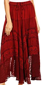 skirt long maxi boho elastic adjustable solid lace woman casual everyday floral boho hippie soft