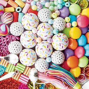 Close up shot of ice cream themed beads